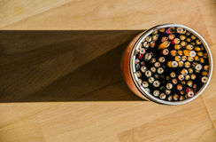 The Pencils and Pen container. Colourful pencils put in the pen container Stock Images
