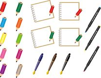 Pencils, pen and notebooks. For web materials. You can use notebooks as copy space Stock Photography