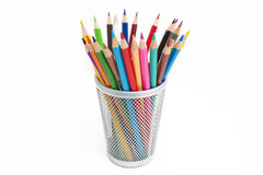 pencils in a pencil case on white background Royalty Free Stock Photography