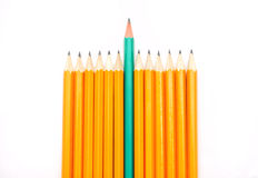Pencils. Pencil crayons on the background fabric Royalty Free Stock Photography