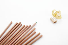 Pencils and Pencil sharpener on white background Royalty Free Stock Photos