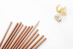 Pencils and Pencil sharpener on white background. Shot in studio Royalty Free Stock Images