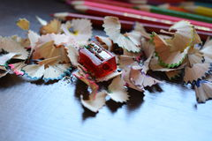 Pencils & pencil shavings Royalty Free Stock Photos