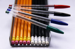 Pencils and pens Stock Photo