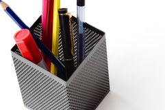 Pencils and pens. In the Penholder Stock Photography