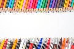 Pencils and pens collection Royalty Free Stock Photos