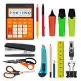 Pencils pens and other different office stationery vector illustrations set isolate on white royalty free illustration