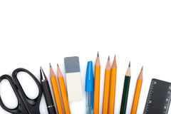 Pencils, pens, ruler, scissors and rubber Stock Photo