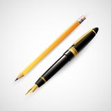 Pencils and pens. Vector illustration Royalty Free Stock Photos