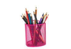 Pencils in a pink basket Stock Images