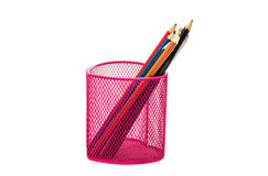 Pencils in a pink basket Stock Photos