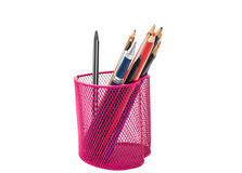 Pencils in a pink basket Royalty Free Stock Photography