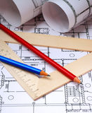 Pencils and plans Stock Image