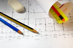 Pencils and plans Royalty Free Stock Image
