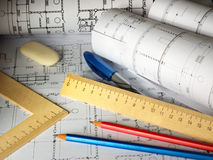 Pencils and plans Royalty Free Stock Photography