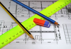 Pencils and plans Stock Photos