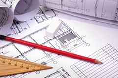 Pencils and plans Royalty Free Stock Images