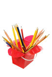 Pencils in Plastic Box Royalty Free Stock Photos
