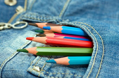 Pencils in the pocket Stock Photos
