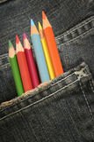 Pencils-in-a-pocket-3. Pencils in a jeans pocket royalty free stock photos