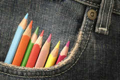 Pencils-in-a-pocket-4. Pencils in a jeans pocket royalty free stock photos