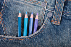 Pencils on a pocket Royalty Free Stock Photo