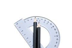 pencils protractoren Royaltyfri Bild