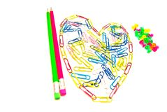 Pencils, pushpin and paper clips Royalty Free Stock Photography