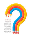 Pencils question mark. Flat stile graphic education and business concept. Group of red, yellow and blue pencils as a question mark. Infographics vector elements Stock Images