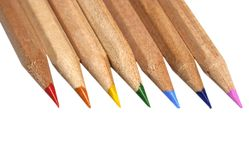 Pencils in rainbow colors. On white background Royalty Free Stock Images