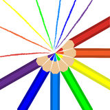 Pencils of rainbow colors and lines drawn in these colors Royalty Free Stock Photos