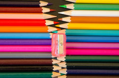 Pencils. Rainbow of pencils and sharpeners Royalty Free Stock Photo