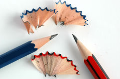 Pencils red and blue. Two pencils blue and red Royalty Free Stock Image