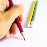 Pencils Red Yellow Green , Three Pencils on white background , Pencils, shallow depth Royalty Free Stock Photography