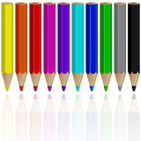 Pencils reflected Royalty Free Stock Images