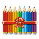 Pencils with a ribbon and bow (vector) Royalty Free Stock Images