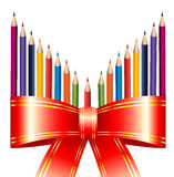 Pencils with Ribbon Stock Images