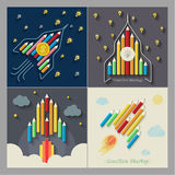 Pencils rocket on gray Royalty Free Stock Photos