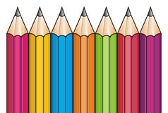 Pencils on the row Stock Photo