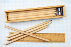 Pencils and rule Royalty Free Stock Photography