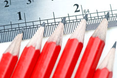 Pencils with ruler Royalty Free Stock Images
