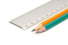 Pencils and ruler Royalty Free Stock Photography