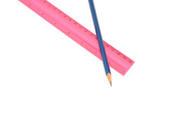 Pencils and ruler Stock Images