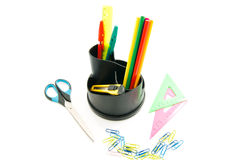 Pencils, ruler and other stationery Stock Photography