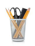 Pencils, ruler and scissors Royalty Free Stock Images