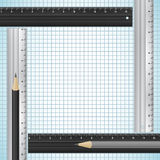 Pencils and rulers on checked paper Stock Images