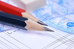Pencils rulers and electrical scheme Royalty Free Stock Photography