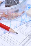 Pencils rulers and electrical scheme Stock Images
