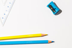 Pencils And A Ruller Over White Paper Stock Photo