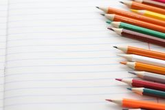 Color pencils for schoolchildren and students stock images